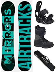 AIRTRACKS SNOWBOARD SET - TABLA MIRRORS NEON WIDE 166 - FIJACIONES STAR - BOTAS STAR BLACK 47 - SB BOLSA/ NUEVO