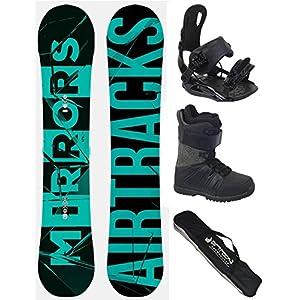 Airtracks Snowboard Komplett Set – Mirrors NEON Neon Snowboard Extra Wide + Snowboardbindung Star + Snowboardboots + Sb Bag / 163 166 169 cm