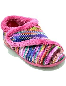 Vulcabicha 215 Fucsia - Zapatillas Cerradas con Velcro de Estampado de Lana Multicolor