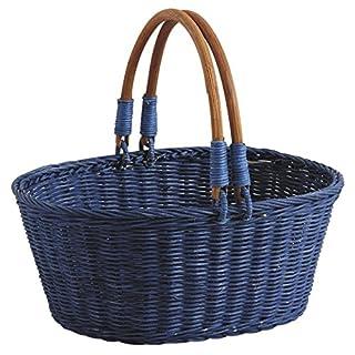 Aubry Gaspard Blue Tinted Rattan Basket
