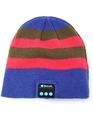 SUNDY 2016nouvelle mode chaud Hat Chapeau de Musique Bluetooth sans fil doux chaud Bonnet à rayures avec musique casque, Bleu