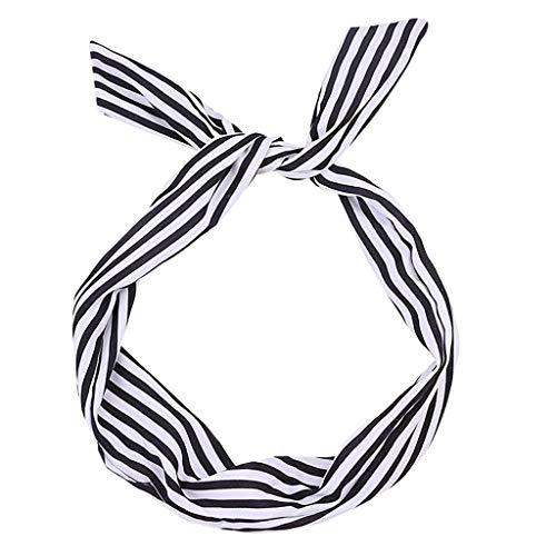 ey Rockabilly Wired Stirnband Polka Dot Tartan Retro Schal Draht HaarbandIns umsatzstark (Schwarz) ()