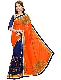 MARUTI FASHION Women's Georgette Embroidered Saree With Unstitched Blouse Piece - Nika Moon Orange Pallu 3_Free...