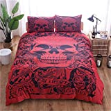 WONGS BEDDING Red Skull Devil Bettbezug Set Gothic Tattoo Bettwäsche Set 3Pcs Floral Quilt Set mit 2 Kissen Fällen für Halloween Double Size 200cm * 200cm