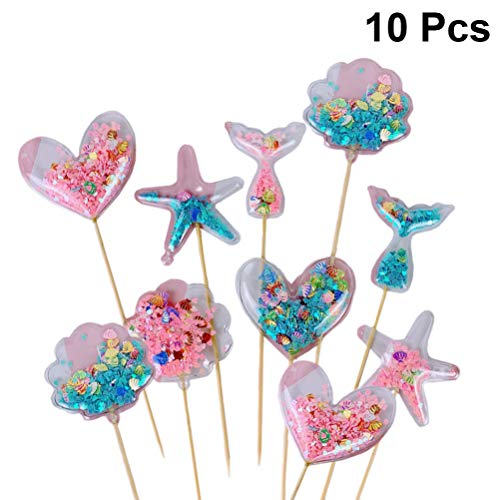 Amosfun Tortendekoration Pailletten Ballons Mini Cupcake Toppers Sterm Herz Meerjungfrau Schwanz Kuchen Zahnstocher für Kinder Geburtstag Deko 10 Stück (Zufälliges Muster)
