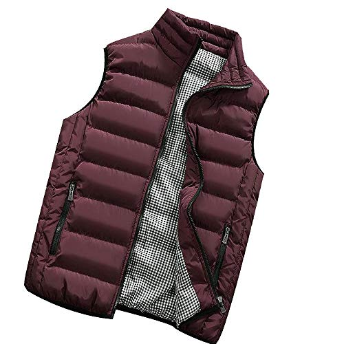 Giacche Vest Senza Maniche da Uomo - Uomo Autunno Inverno Caldo Caldo Spessa Vest Tops Giacca Casual Slim Coats Brand Abbigliamento Plus Dimensione Cotton Padded Knight Vest(Vino,5XL)