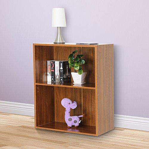 Miadomodo Bücherregal Wandregal Bücherkommode mit 2 Ablageflächen in verschieden Farben (Nussbaum) (Bücherregal Nussbaum)