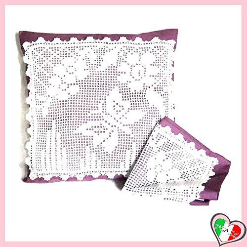 Set 2 Weiß und Lila Häkeln Kissen aus Baumwolle und Stoff - Größe: 40 cm x 40 cm - Handmade - ITALY (Lila Dekorative Bett Kissen)