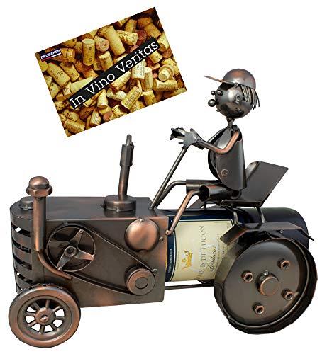 Brubaker Weinflaschenhalter Traktor mit Traktorfahrer Deko-Objekt Metall Flaschenständer mit Grußkarte für Weingeschenk
