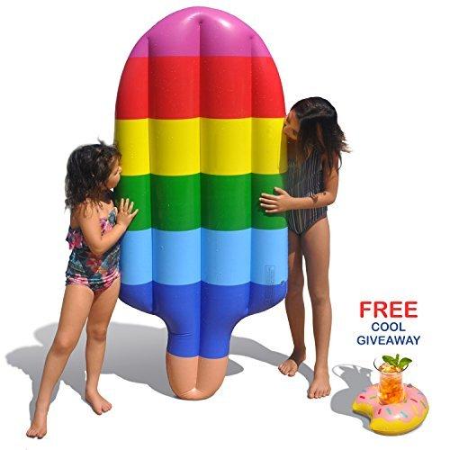 Tomi Pool float – Aufblasbare Luftmatratze - Perfekt für Schwimmbäder, Flüße und Strand-Luftmatratze – Eisforme - Wasserspiel – Riesenmatratze: 178 cm lang x 66 cm breit – Inklusiv Getränkehalter