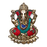 Collectible India Colorful Large Ganesh Idol Turquoise Brass Deity Success Elephant God Figurine Vinayak Ganesha
