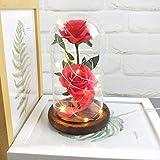 Jamicy LED Dekoration für Weihnachten, künstliche Blumen, romantische Glas Rose Hochzeitsdekoration Heimtextilien DIY Haus Garten Dekor (Rot) - 5