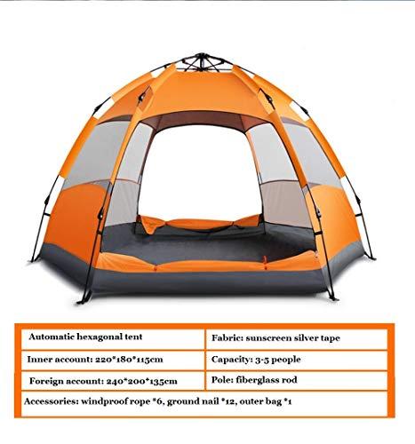 Tragbare Und Wasserdichte Instant-Pop-Up-Rucksack Zelt 3-5 Personen Im Freien Regen Camping, Ideal Für Picknicks, Wandern, Strände, Angeln, Reisen,Orange