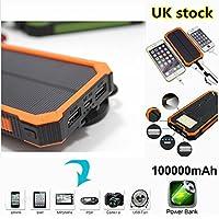 Generic 100000mAh Solar Power Bank Dual USB Batteria Esterna Portatile Caricatore per cellulare (Rosso)