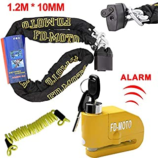 FD-MOTO 1.2M*10MM Steel Heavy Duty Motorcycle Chain Lock Padlock + Anti-theft Yellow 110dB Alarmed Brake Disc Lock + 1.5M Cable for Motorbike Bicycle Bike Scooter