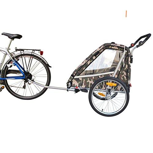 PAPILIOSHOP LEON Rimorchio passeggino carrellino per il trasporto di 1 o 2 uno due bambino bambini con la bici ruota anteriore piroettante bicicletta portabimbo bimbo bimbi portabimbi carrello pieghevole carrozzina da con x porta (New Mimetico) - 8