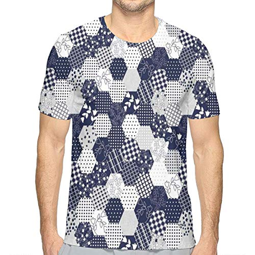 3D Printed T Shirts,Octagon Patchwork Style Pattern Image with Dots Stars Squares Stripes XXL Octagon Dot