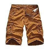 GreatestPAK Pants Cargo-Shorts der Tarnung-Männer beiläufige im Freien Taschen-Strand-Arbeits-Hosen-Hose,Gelb,31