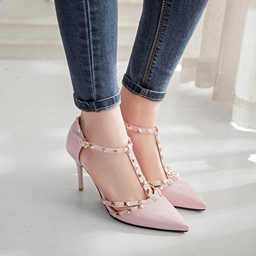 T Spitz Aisun Geschlossen Nieten Stiletto Lackleder Damen Zehe Modern Sandale spange Pink FwYxrqYg7E