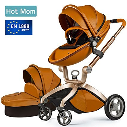 Hot Mom Cochecito de Bebe 2017 - Sillita de paseo 3 en 1 (incluye moisés),Elegante seguridad, buenos amortiguadores, asiento regulable en altura, multi-ángulo ajustable, reversible,color marrón
