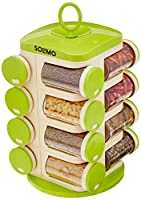 Solimo Revolving Spice Rack set (16 pieces) keeps your kitchen clean and tidy by storing your spice collection in one place. With a beautifully designed carousel offering easy access to your spices, herbs, powdered sugar and sprinkles; this spice rac...
