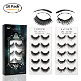 False Eyelashes - 10 Pair Multipack Natural 3D False Eyelashes Natural Look For Makeup Eyelashes Extension.