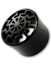 Fly Style® - Flesh Tunnel Plug aus Horn oder Holz - Black Sun