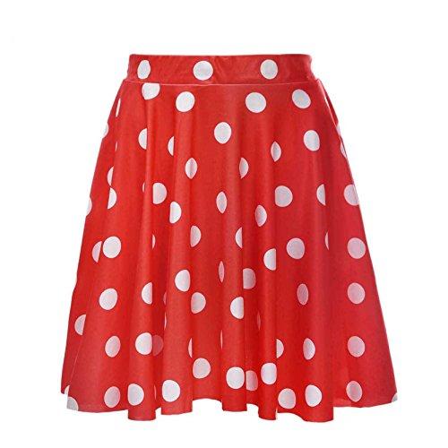 Frauen Hübsch Flecken Grundlegende Vielseitige Dehnbar Flackerten Röcke Rot MEHRWEG
