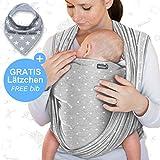 Portabebés gris claro con estrellas - portabebés de alta calidad para recién nacidos y bebés hasta 15 kg - hecho de algodón suave - incluye babero GRATIS - precioso diseño de Makimaja®