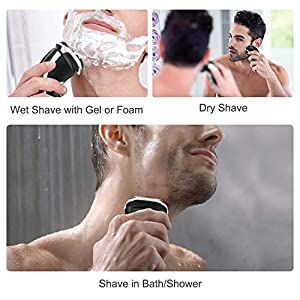 MAX-T Electric Shaver, 3D Rechargeable Men's Electric Razors Wet & Dry Cordless Rotary Shaver, IPX7 Waterproof with Pop up Trimmer for Travel and Gifts.