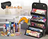 #6: Roll N Go Travel Cosmetic Bag Toiletries Pouch 4 Zip Compartment for Men Shaving Kit Ladies Women Jewellery Bag Makup Bag Storage Organizer