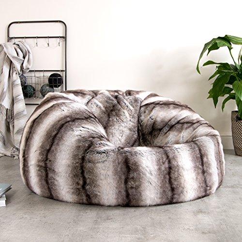 Holzkohle Grau Streifen (ICON - Ein extragroßer Luxussofa - Sitzsack – in weichem Kunstpelz – Ein großer flauschiger Sitzsack - XL Kunstpelz-Sitzsack (grau streifen))