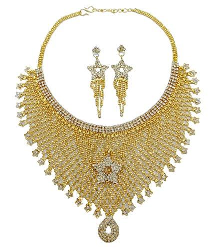 Banithanitraditionnel indien ensemble collier cz boucle d'oreille bollywood bijoux ethniques mariée Or (Conception # 3)