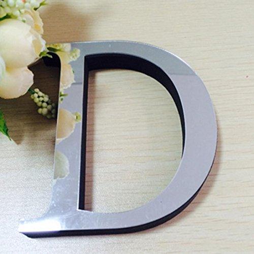e Design 10cm 26 Buchstaben DIY 3D Spiegel Acryl Wandaufkleber Decals Home Decor Wand Kunst Wandmalerei (D) (Mädchen Ninja-namen)