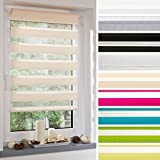 Ourdeco® Compression Spring, Duo Blackout Roller Blind 45 x 160 cm White/Translucent/Colours: White/Apricot, Yellow, Green, Blue, Red, Charcoal Grey, Grey, Natural/Clips = Installation without drilling = Smartfix = Klemmfix = Easy to fix, grey, 120 x 160