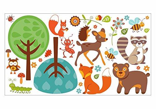 nikima - 042 Wandtattoo Waldfreunde Tiere Reh Bär Baum Fuchs Waschbär Biene - in 6 Größen - wunderschöne Kinderzimmer Sticker und Aufkleber niedliche Wanddeko Wandbild Junge Mädchen (750 x 420 mm) - Rehe Wandtattoo Bäume
