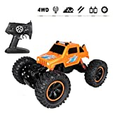 Ferngesteuertes Auto 1/14 Skala 360-Grad-Rollen Elektro RC Auto Geländewagen 2.4Ghz Radio Fernbedienung Auto 4WD High Speed Racing Monster Truck Rock Crawler mit 2 Aufladbaren Batterien