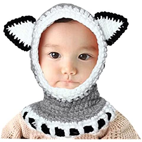 Knitted Caps, FEIKTONG Baby Winter Wool Fox Hats Girls Shawls Hooded Cowl Beanie - Solid Grigio Lana