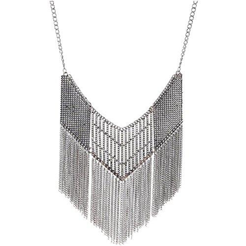 NIUWJ Frauen Retro Hohlen Muster Kette Quaste Legierung Halskette Silber -