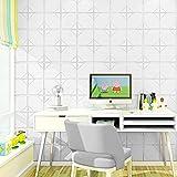 3D Ziegel Tapete, PE Fliesen Wandaufkleber Stereo Wandtattoo Papier Abnehmbare selbstklebend Tapete für neues Haus Dekoration Wohnzimmer modernes TV-Schlafzimmer, 15 Stücke, Weiß, 60cm x 60cm