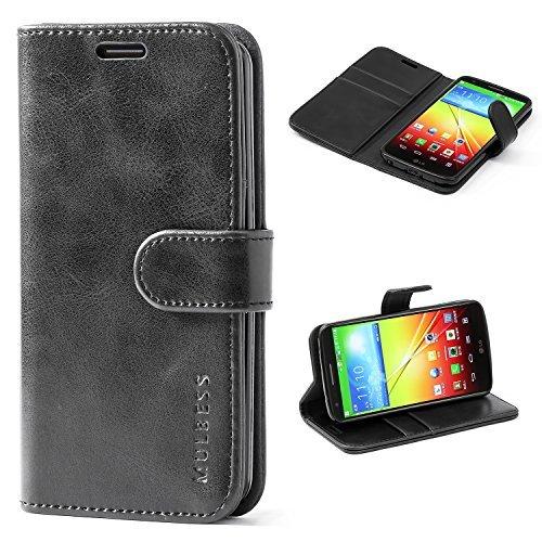 Mulbess Handyhülle LG G2 Hülle Leder, [Ledertasche mit BookStyle] Flip Case Tasche Etui Schutzhülle für LG G2 Lederhülle, Schwarz (Lg G2 Phone Case)