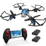 KAI DENG K80 Pantonma Drone con Telecamera HD 2MP WIFI FPV, Modalità di senza testa, 3D Flips Funzione,con 2 Batterie