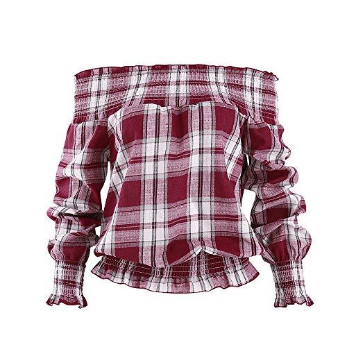 MIRRAY Damen Herbst Langarmshirts aus Schulter Plaid Karo Bluse T-Shirt -