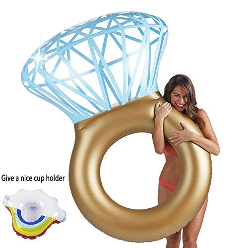 Inflable gigante diamante anillo piscina flotador balsa - con nubes titular de...