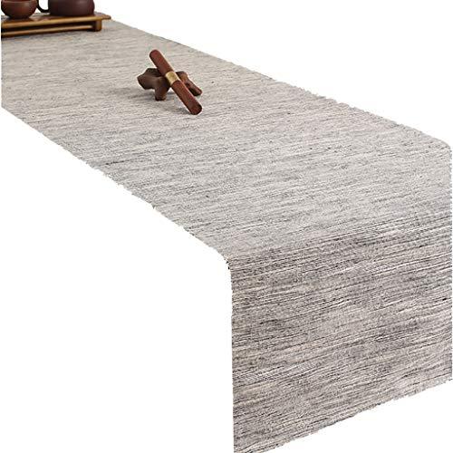 WYQ Graue Leinen Tischläufer, Tischläufer für Familienessen, Zusammenkünfte, Partys, Alltag (6 Größen verfügbar) Table Runner (Farbe : Gray, größe : 60×220cm)