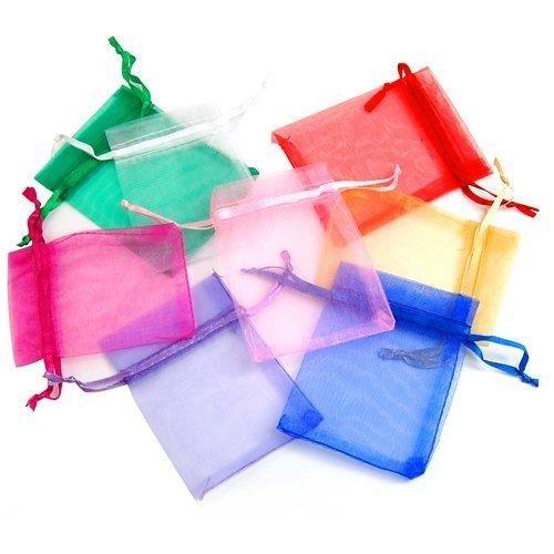 SODIAL(TM) 100 x Sacchetto organza bomboniera matrimonio confezione gioielleria - Regalo Materiale