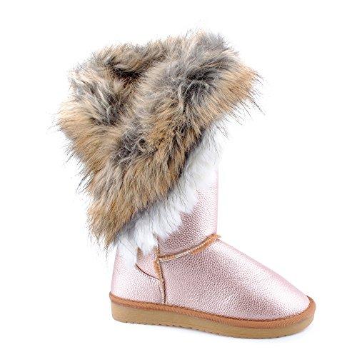 Damen Schlupf Herbst Winter Stiefel Stiefeletten Velours-Optik Kunstfell Warm Gefüttert Boots Schuhe Gold/Champagner