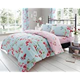 LONDON.BEDDING @ BIRDIE BLOSSOM DUVET QUILT COVER SET WITH PILLOW CASES ALL SIZE (Super King, Multi, Blue)