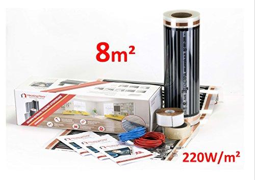 Heating floor - 8m2 Kit de électrique Chauffage au Sol Film Chauffant sous Parquet, Bois ou Stratifé 220W/m2