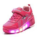 Axcer LED Lumières Clignotant Chaussures avec Unique Roulette Multisports Outdoor Baskets à Skates 7 Couleurs LED Lumineuses Gymnastique Sneakers avec Rouleau de Garçon Et Fille … (28 EU, Rose)